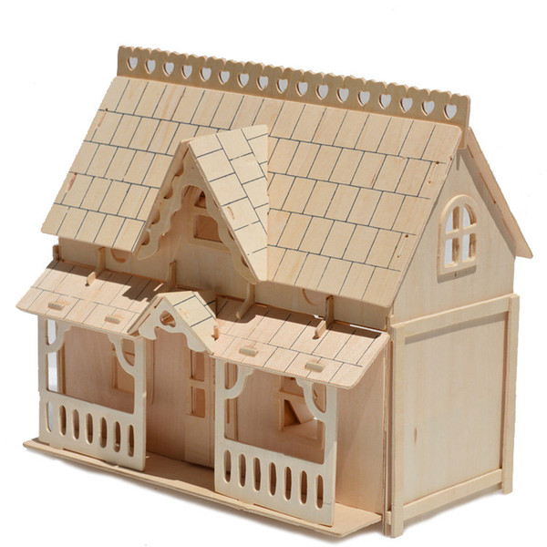 top popular Large Porch House Wooden 3D Building Miniature Scale Models jigsaw puzzles Factory Price Wholesale Order 2021