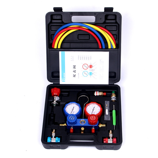 Automotive Air Conditioning Fluoride Table Refrigerant Double Gauge Valve  Air Conditioning Maintenance Tools Kit For R134a UK 2019 From Sophine09, UK