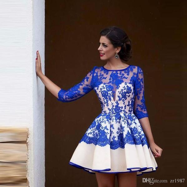 Vestidos de fiesta Royal Blue and White Una línea de manga corta Appliques y vestido de fiesta de encaje
