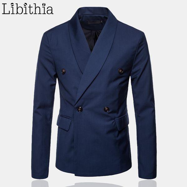 Blazer doppiopetto casual da uomo Autunno Standard tipo Suit da uomo di lusso Masculino Big Size M-4XL grigio nero blu vino rosso F178