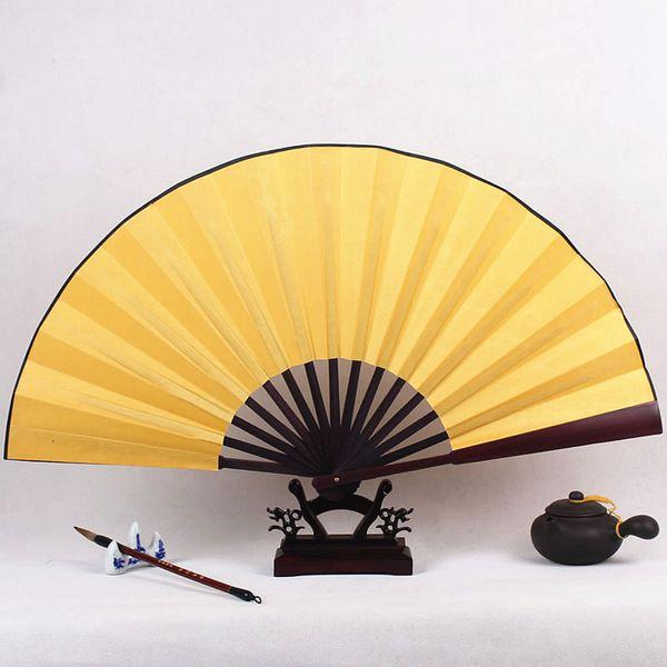 Plain Color Man Folding Fan Wedding Big Silk Fabric Hand Fan DIY Blank Chinese Bamboo Fan Personalized Adult Fine Art Painting Program
