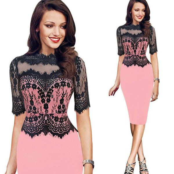 New Arrival Lace Hollow Out Patchwork Half Sleeve Women's Dress for Spring Summer Lady's Clothes Pencil Dresses Straight Sexy Slim Plus Size