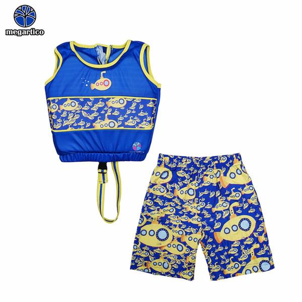 Megartico life jacket 2 pieces set blue Submarine Printed Boy`s swim learning float suit swim kids trainer vest foam pads