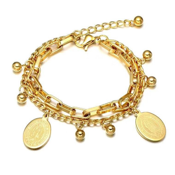 HIP hop jewlry 18k gold stainless steel jesus double bracelet for free shipping