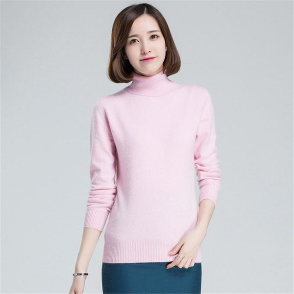 54b00d40ffc9 2019 Women Sweaters High Neck Winter Female Solid Color Turtleneck ...