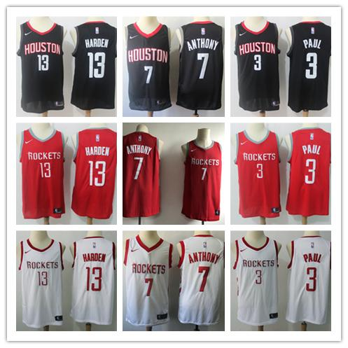 outlet store f78c0 0b27d 2019 2019 New Mens Rockets Basketball Jerseys 13 James Harden 3 Chris Paul  7 Carmelo Anthony Jerseys Stitched Embroidery Mesh Dense AU From ...