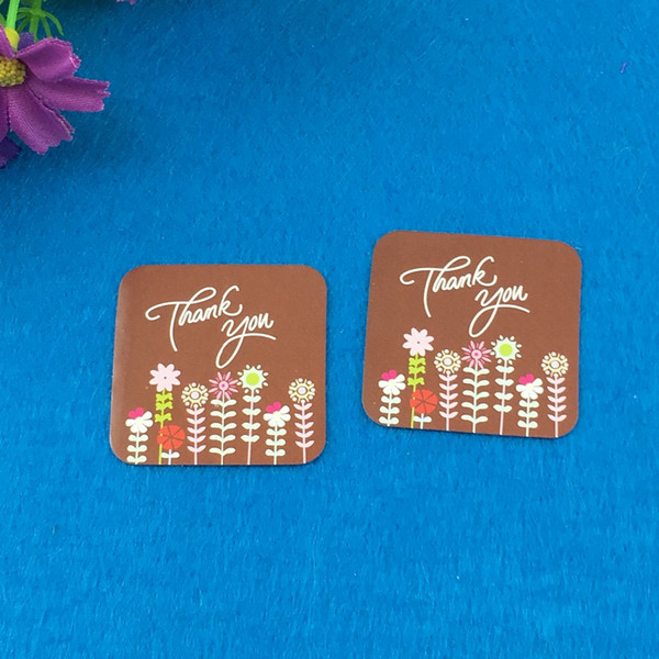 "2000PCS/Lot 3.5*3.5cm Square Brown ""Thank you"" Sticker Labels With Flowers Design Adhesive Label For manicure/Wallpaper/notebook"