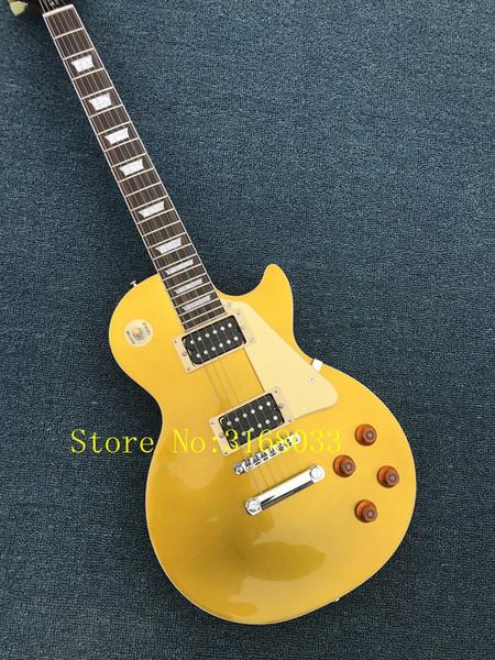 La guitarra eléctrica de la venta caliente con el cuerpo de oro chispeante y el cuello de caoba y se puede personalizar