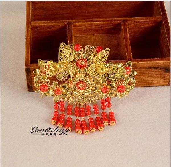 Coiffure de mariée, costume de style chinois rouge, ornement pour les cheveux, robe, toast, robe de mariée, accessoires de mariage, tête de fleur