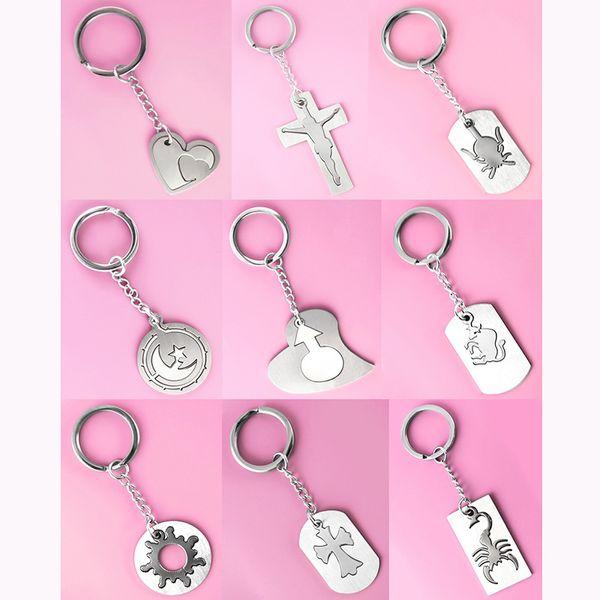 Stainless Steel Key Chains & Pendant Mix 9 Styles Love Heart Cross Jesus Spider Moon Star Round Goat Sun Scorpion Keyring Accessory (JK027)