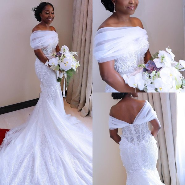 2018 Newest Design Luxury Off the Shoulder Mermaid Wedding Dresses Lace Beading Crystals Court Train Wedding Bridal Gowns Arabic Zipper Back