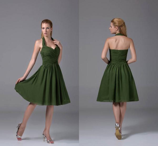 Olive Green Halter Neck Gasa Vestidos de dama de honor cortos Ruffles Pleats Formal Maid of Honor Vestidos Vestidos de invitados de boda WD4-093