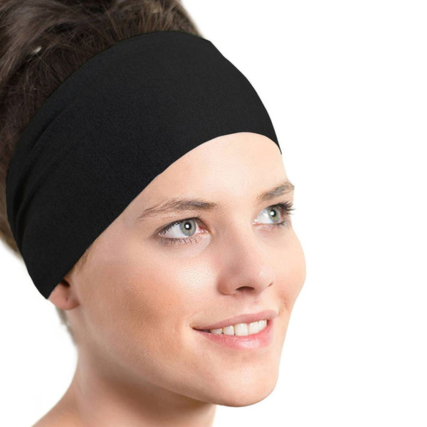 Hot Sale Men Women Elastic Headband women sport yoga headband Biker Wide Stretch Ribbon Hairband