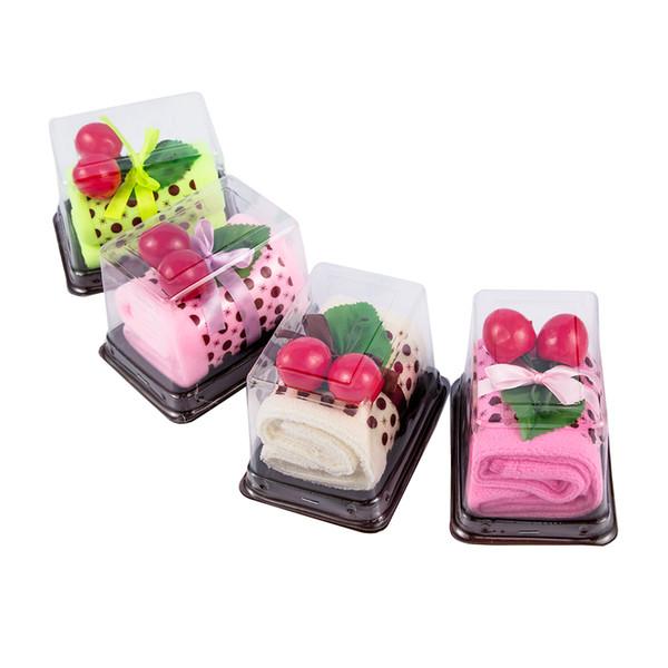 1pc Cute New Colorful Soft Fashion Creative Comfortable Cotton Children Kids Cherry Cake Shape Microfiber Towel Wedding Gift