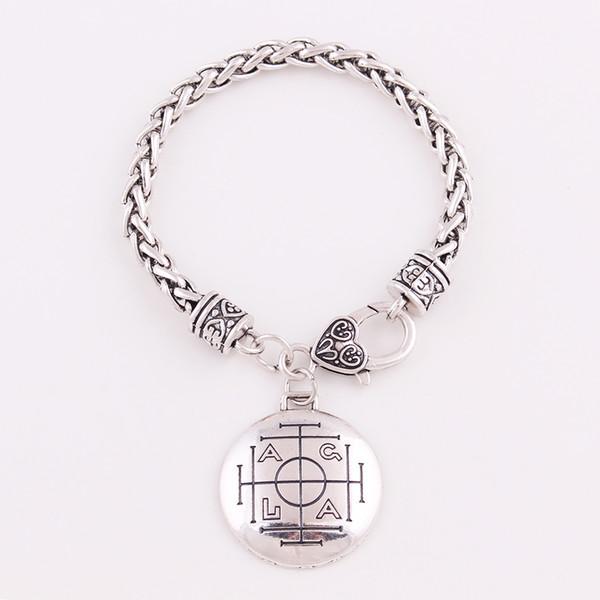 Bronze Medieval Money Talisman Wealth Prosperity Amulet Wiccan Men's Pewter Pendant Wheat Chain Bracelet Jewelry Gift