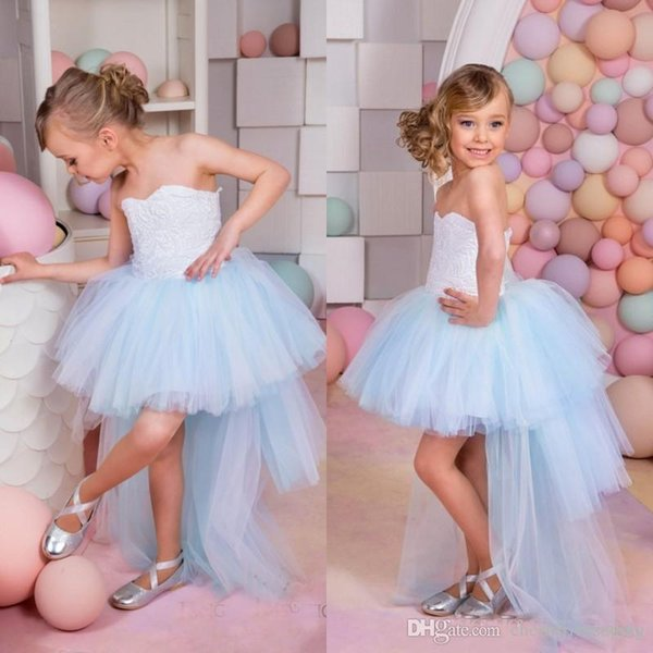 Beautiful Light Sky Blue Flower Girls Dresses for Weddings Vintage High Low Pageant Gowns Birthday Communion Toddler Kids TuTu Dress