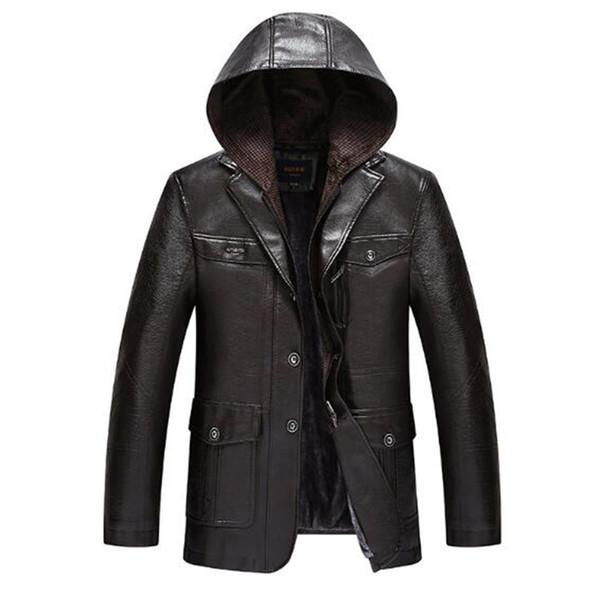 Homens outono e inverno versão coreana do novo europeu e americano boutique de moda slim pode tirar o casaco de couro cap M-3XL