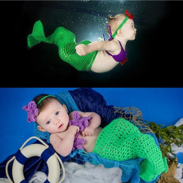 Crochet Mermaid Cocoon and Headband Photography Props Newborn Girls Mermaid Costume Baby Crochet Outfits 1set