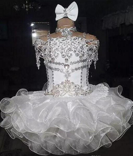 Cute White Organza Girl's Pageant Dress Princess Beaded Crystals Party Cupcake Young Pretty Little Kids Queen Flower Girl Gown