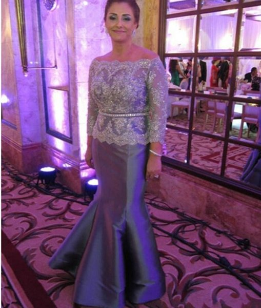 Elegant Silver Mermaid Mother Of The Bride Dresses 2018 Long Sleeve Bateau Lace Top Crystal Beaded Mother Wedding Guest Women Wear Plus Size