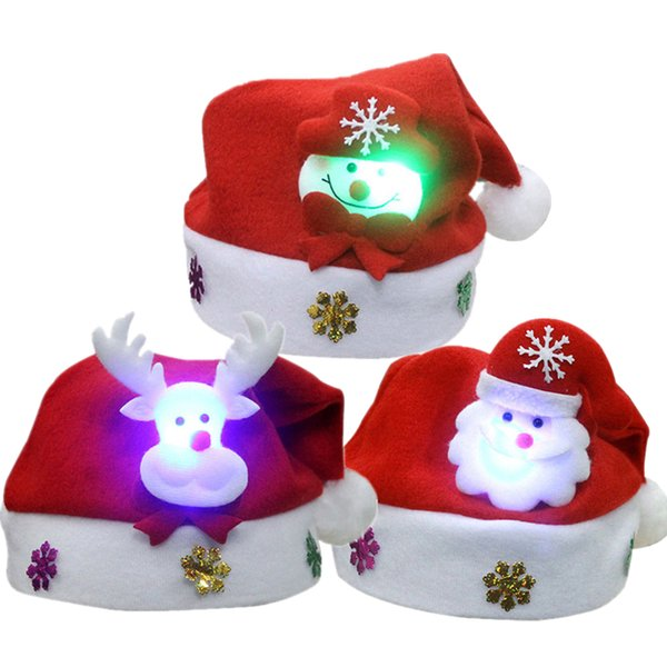 New Cute Christmas Hat LED Caps Snowman Elk Hat for Children New Year Xmas Kids Gift Home Decorations Christmas Ornaments noJY3