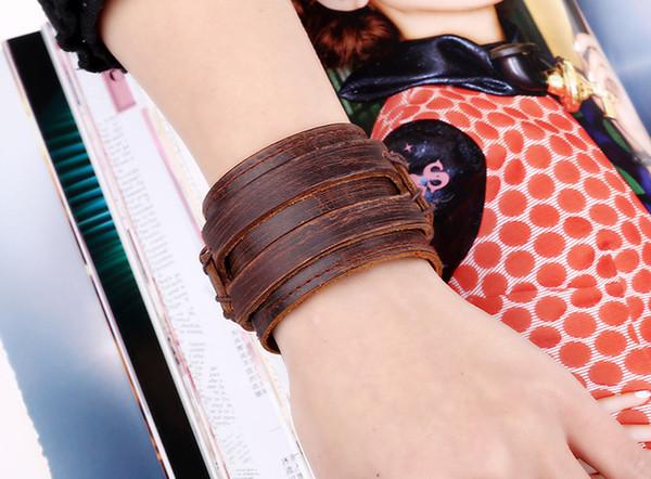 Fashion vogue personalizzato avant-garde vera pelle braccialetto fabbrica diretta vendita accessori americani retrò braccialetto multistrato gioielli