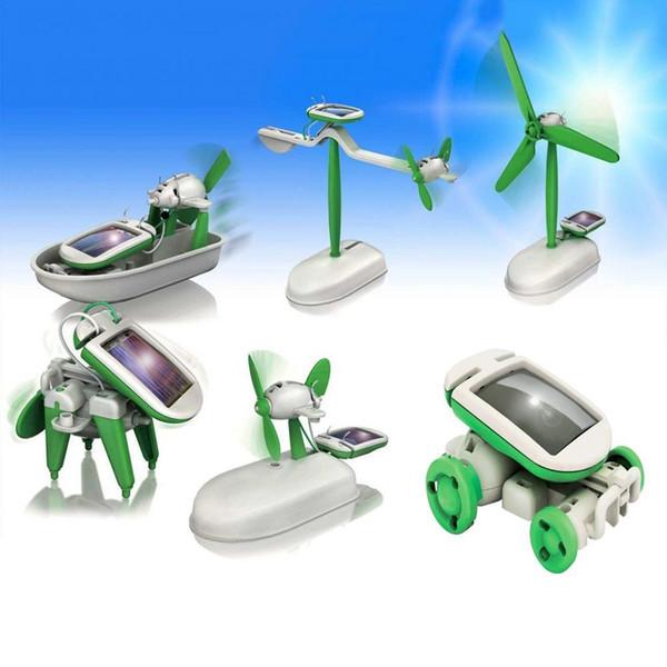 Güneş Enerjisi 6-in-1 Deformasyon Robot Oyuncak Çocuk Bulmaca Eğitim DIY Hediye Dönüşümü Eğitim Robot Çocuklar Parti Favor AAA1277