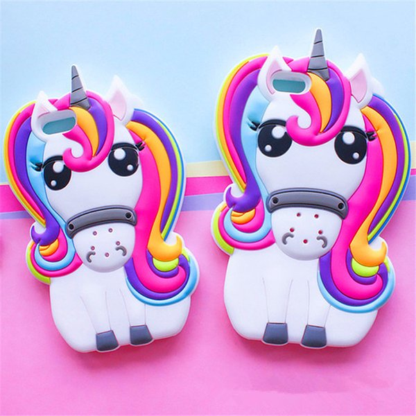 White Color Rubber Silicone Material White Horse With Colorful Hair Unicorn Shaped Mobile Phone Case for iphone
