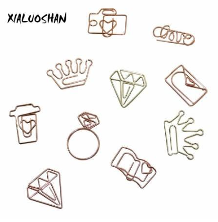 best selling New Rose gold   Gold Diamond Love Crown Camera Coffee Cups Metal Bookmarks Notes Folder Paper Clip 10 Pcs lot