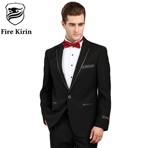 Fire Kirin Men Suit 2017 Black Prom Suits For Men Formal Wear Tuxedos Jacket Slim Fit Wool Suit 4XL Luxury Brand Clothing Q76
