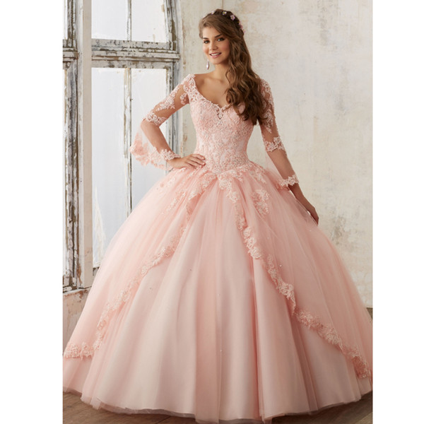 Vestido de bola rosa quinceañera vestidos mangas largas apliques corsé con cuello en v vestido largo fiesta niñas jóvenes vestidos para ocasiones especiales