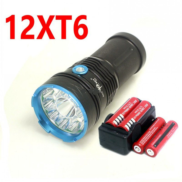 SKYRAY King 25000 lumens 12T6 LED flashlamp 12 x CREE XM-L T6 LED Tactical Flashlight Torch For Camping Hunting Lamp with battery charger
