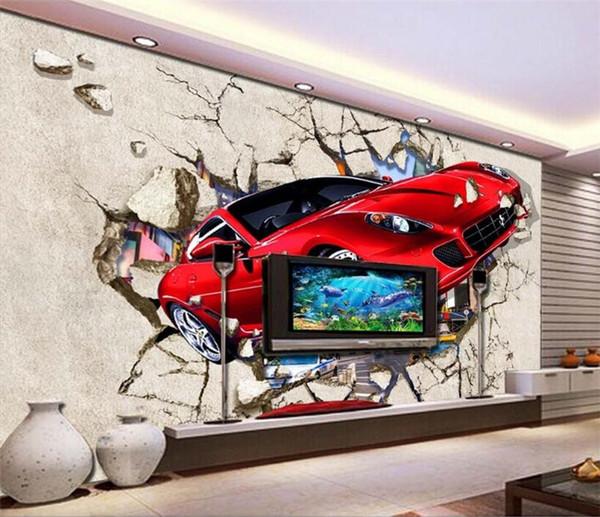 Carta da parati fotografica personalizzata Carta da parati 3D auto rossa Parete spezzata Carta da parati decorativa per interni in metallo Carta da parati decorativa per soggiorno