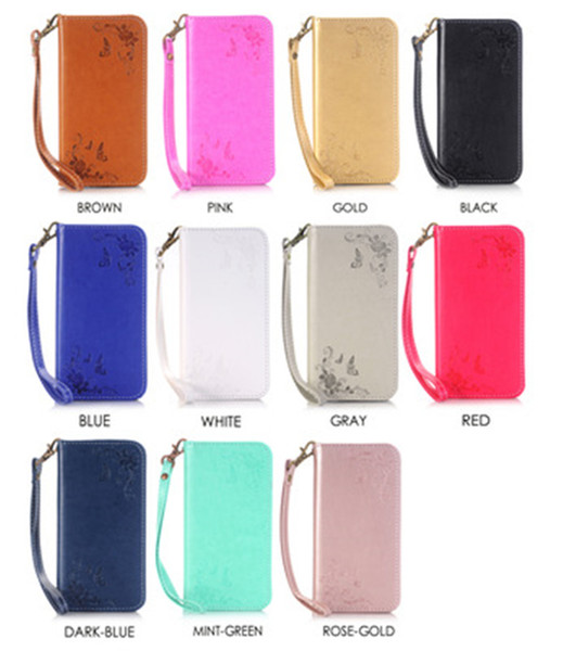 Magnetic Suck Flip Leather Case For Iphone SE 5 5S 5C 6 7 I7 plus 6S 4 4S Flower Strap Stand Wallet Pouch ID Card TPU Cover Colorful 50pcs
