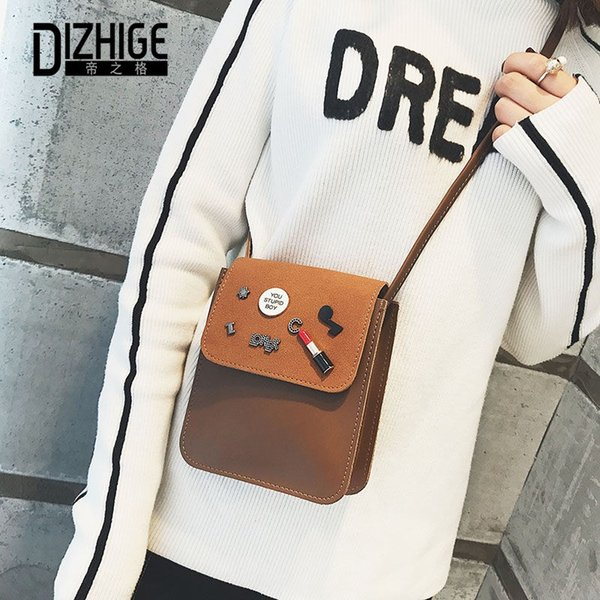 DIZHIGE Brand PU Leather Women Bag Patchwork Lipstick Mobile Phone Crossbody Bag For Women Ladies Frosted Messenger 2018