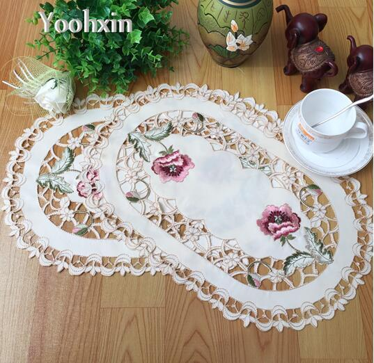 Modern europe cloth floral embroidery place mat lace hollow coffee drink Coaster 28*43cm wedding party table dining decor pad
