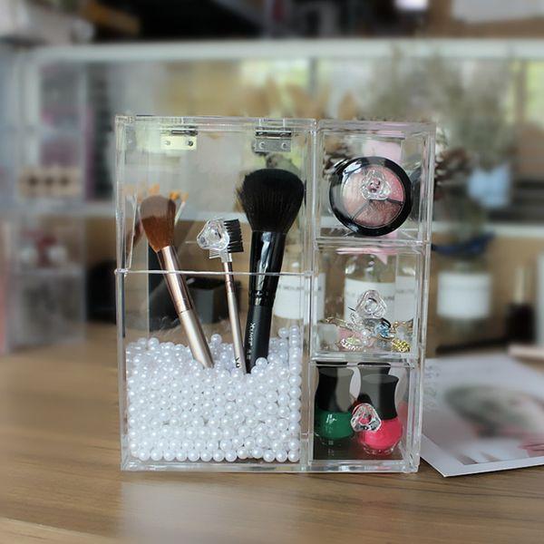Transparent Makeup Organizer Makeup Brush Storage box Clear Jewelry storage Dust-free Storage Case 3 Drawers Cosmetic Organizer