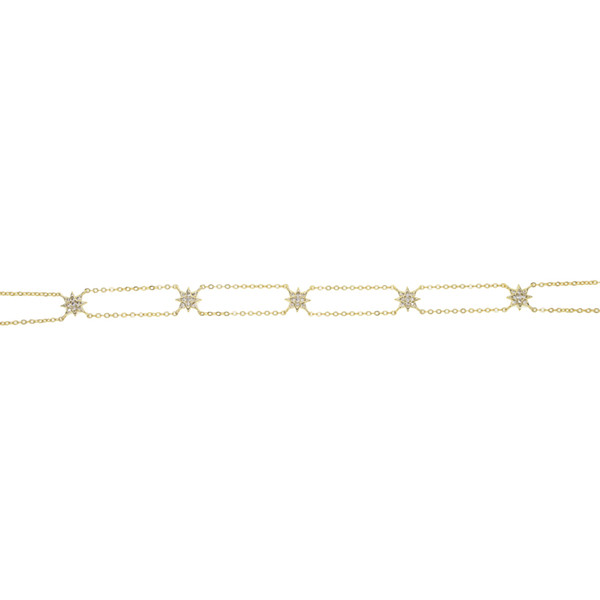 double chain starburst northstar choker necklace for women 2018 Christmas gift elegance high quality cz chocker chains