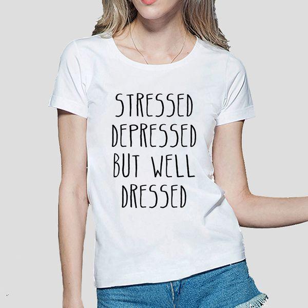 T-shirt da donna stressato depresso ma ben vestito stampa divertente maglietta donna cotone moda casual harajuku femminile t-shirt kawaii punk supera it