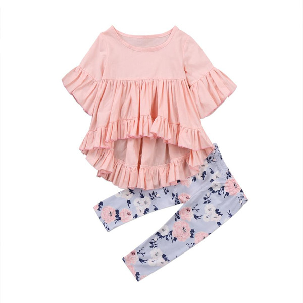 Emmababy Kids Toddler Baby Girls 2PCS Ruffles Tops T-shirt + Floral Pattern Long Pants Outfit Set Clothes 0-24M