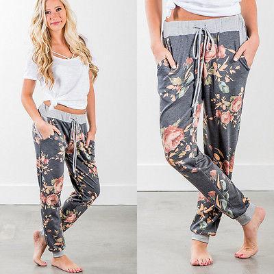 Mulheres Senhora Solto Harem Pants Casual Corredor de Dança HipHop Calças Calças Das Senhoras Das Mulheres Flor Calça Roupas de Impressão
