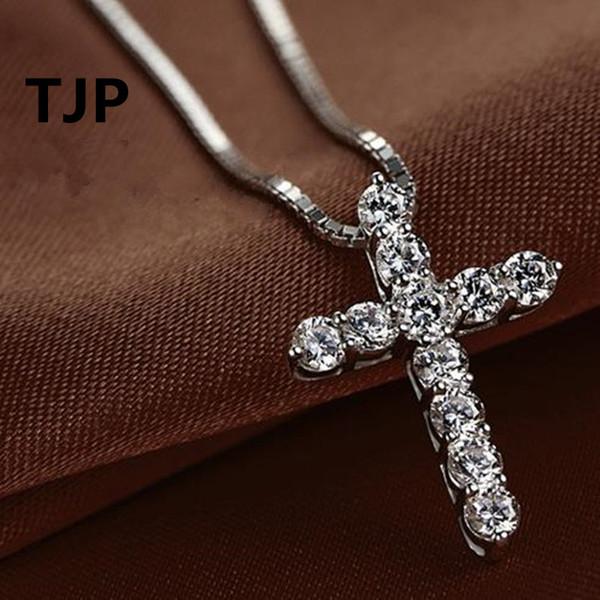 TJP Nouvelle Mode Croix Collier Accessoire Ture 925 Sterling Argent Femmes Cristal CZ Pendentifs Collier Bijoux