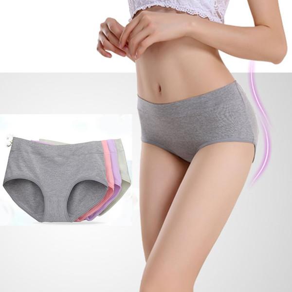 The new process pure cotton Women's Panties underwear Mid- waist sexy underwear Natural cotton briefs