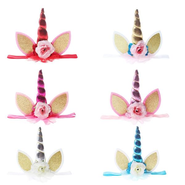 Unicornio Diadema Hairband Niños Linda Fiesta de cumpleaños Joyería del pelo Cosplay Fotos coloridas del bebé Apoyos de la flor al por mayor
