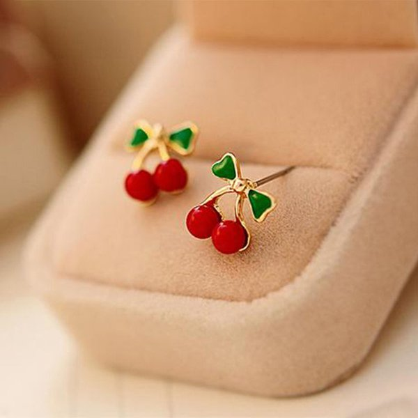 Hot Fashion Diamond Charming Women Red Cherry Ear Studs Green Bowknot Sweet Cherry Earrings Fruit Jewelry Wedding Ornament