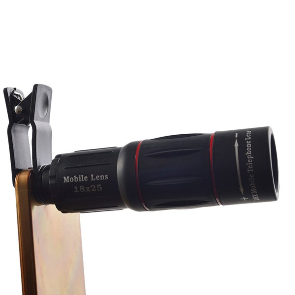 Girlwoman Monoküler Cep Telefonu için 18X25 Zoom Lens Teleskop Lensler Smartphone için Lente Para Celular Zoom Lens + Tri + Klip
