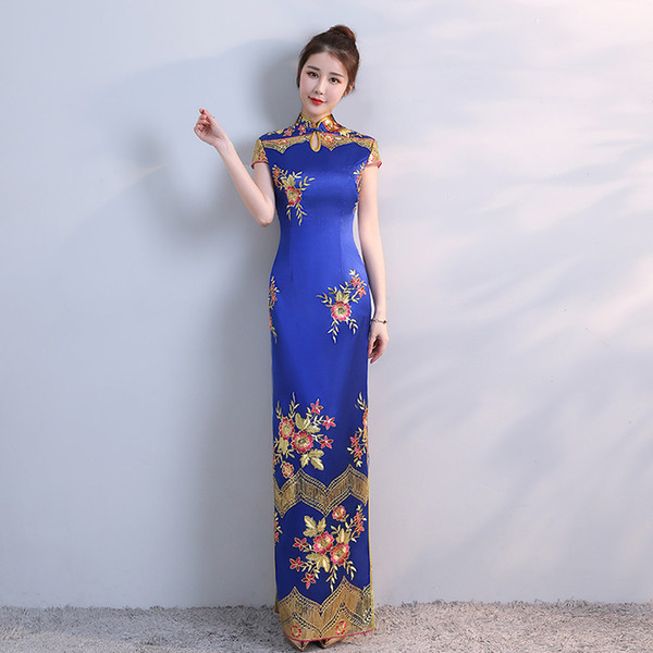 New Blue Chinese Traditional Dress Women's Slim Cheongsam Embroidery Sequins Modern Oriental Long Qipao Evening Dresses