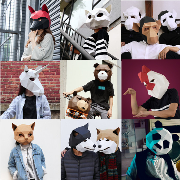 Dog Head Face Adult Animal Mask Halloween Party Decor Cosplay Costume Lovely Panda Mask DIY Party Tricky Funny Mask Photo Prop