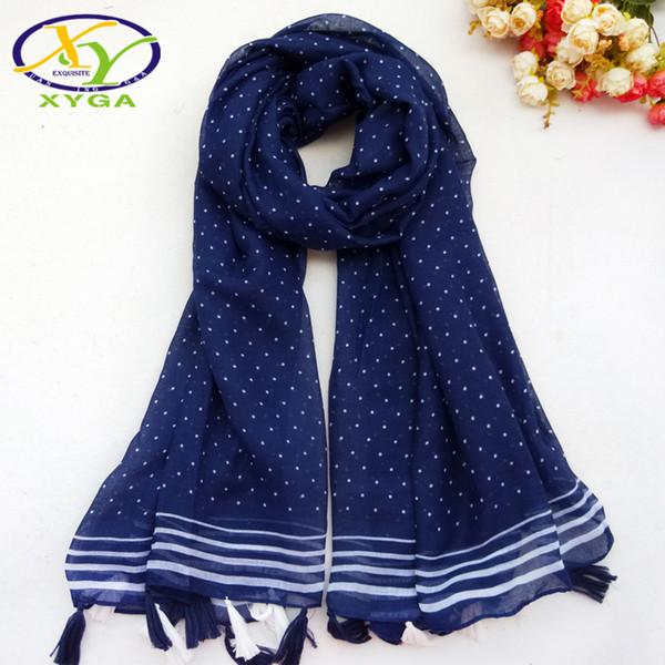 1PC Women Cotton Long Tassels Scarf 2018 Autumn Dots Printed Viscose Thin Soft Lady's Wraps Female Frings Shawl Muslim Kerchief