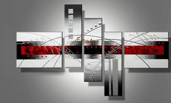 diacount red black white abstract art 5 piece wall art hand painted oil paintings modern abstract canvas art oil painting home decoration